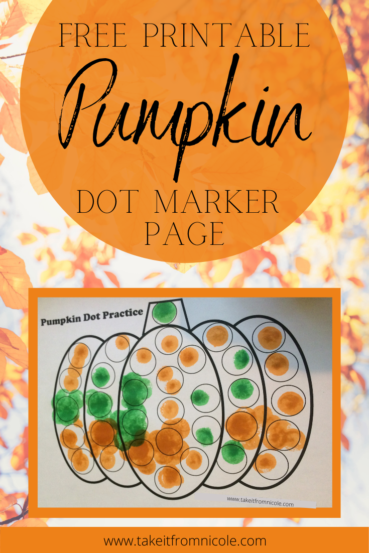 Free printable Pumpkin Dot Marker activity. Great for Fall themed units and fine motor skills development.
