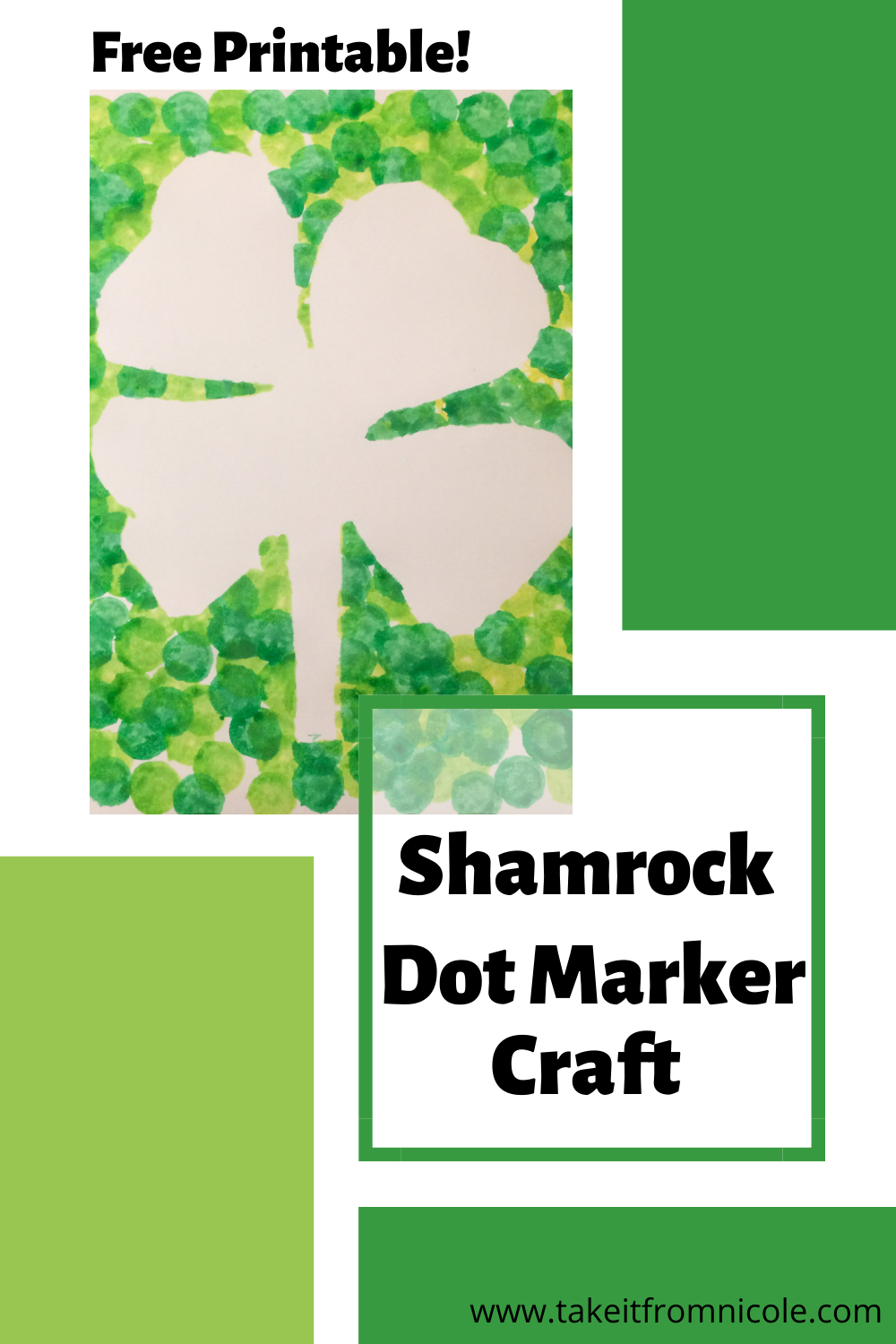 Free Printable St. Patrick's Day Shamrock Dot Marker Craft for toddlers and preschool. Great for fine motor skills and mess free art.