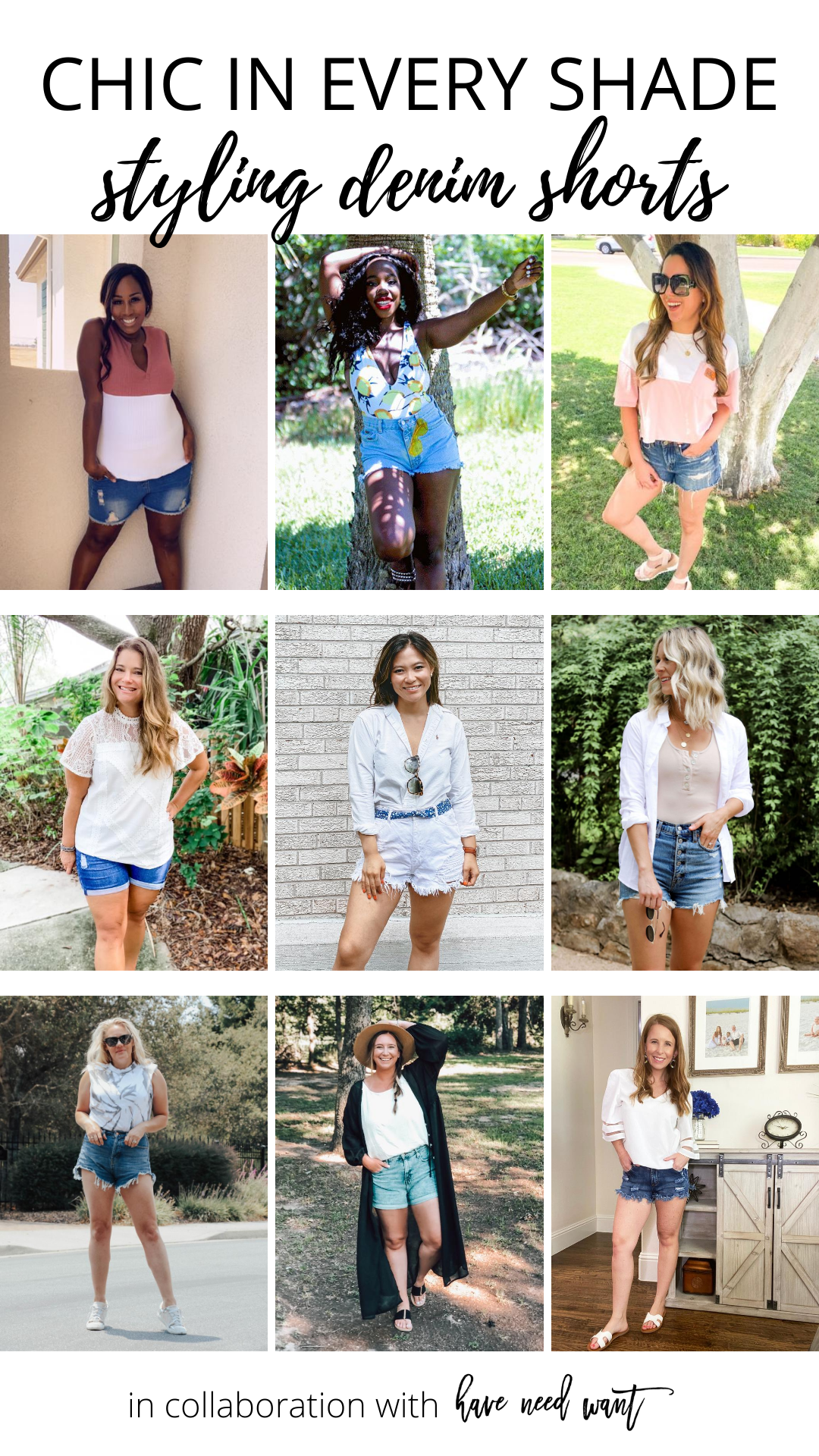 This month I teamed up with an amazing group of women for a styling challenge with a message close to my heart. Chic in Every Shade challenges women in a wide range of different skin tones to style the same piece of clothing. I love showcasing how beauty comes in all colors. This month we tackled distressed denim shorts.