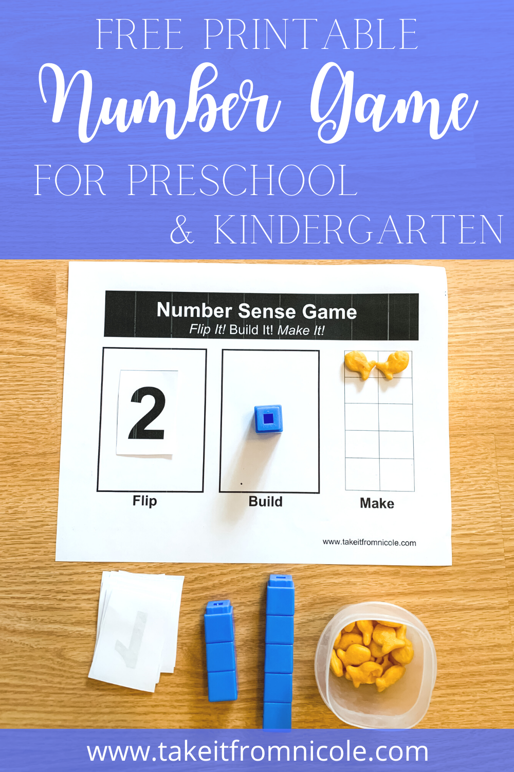 A free printable Number sense game for preschool and kindergarten that teaches number recognition.