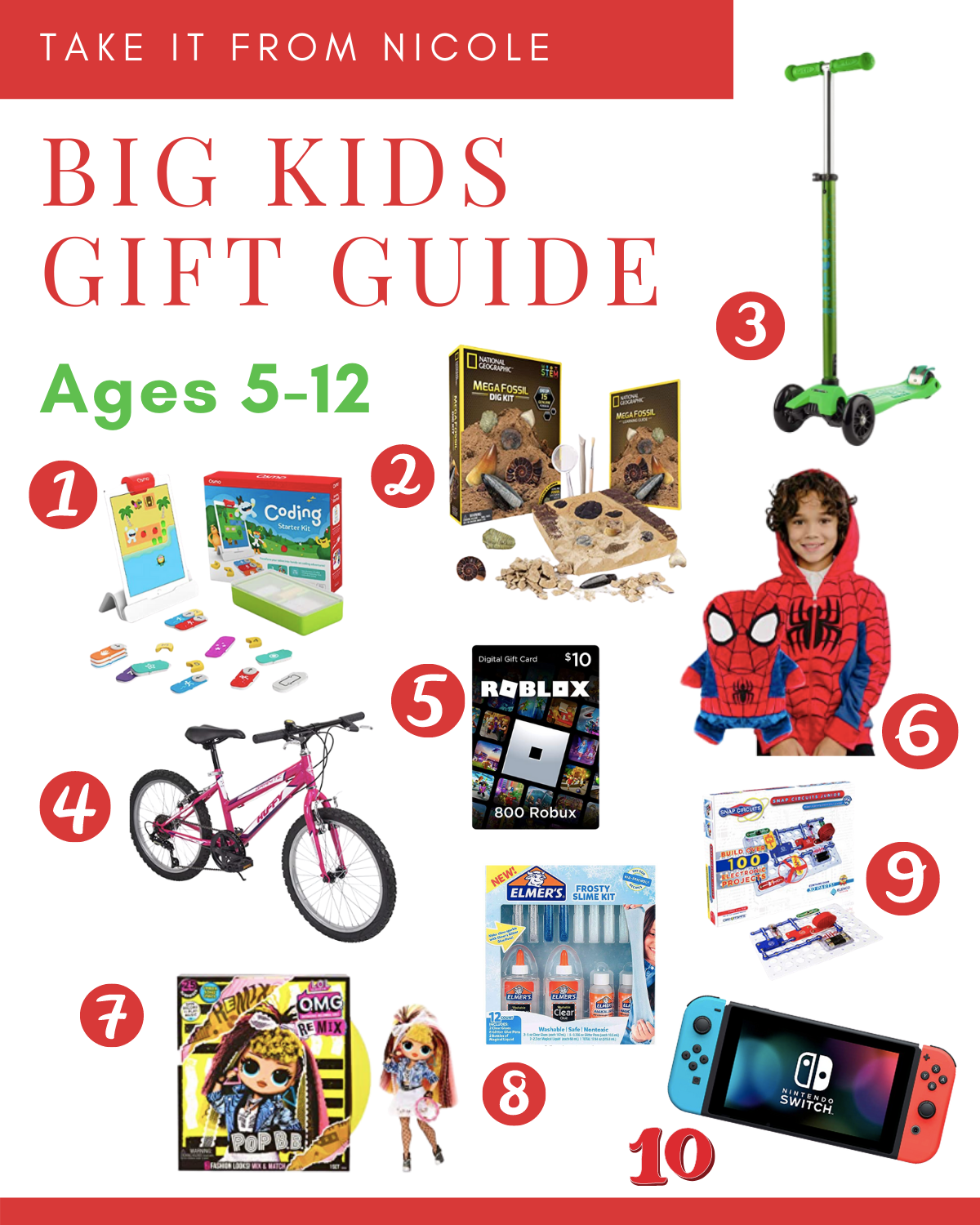 Christmas and holiday gift guide for kids ages 5-12. I tried to get a good mix of electronic and screen free ideas along with a wide range in price points. Ideas for both boys and girls.