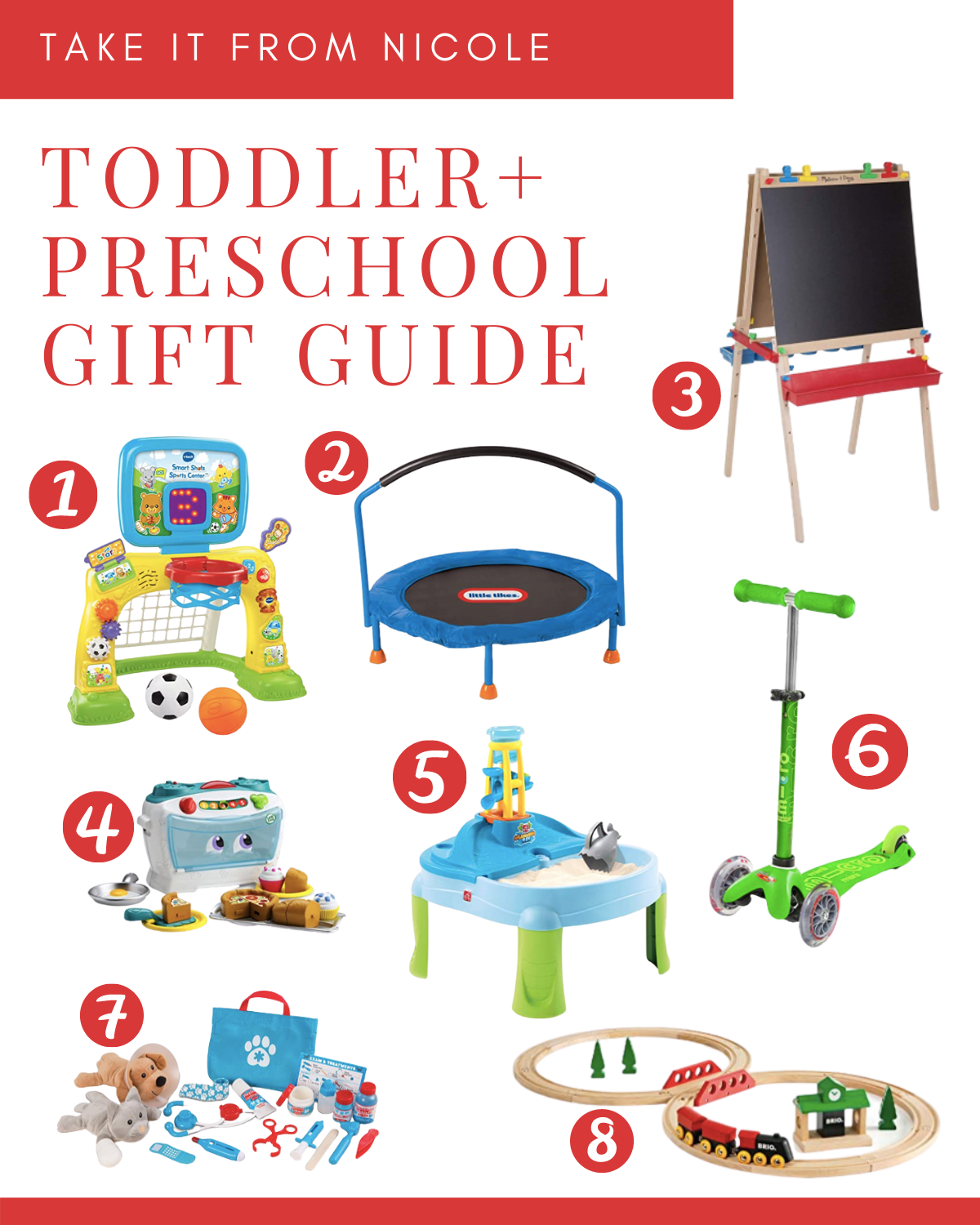 Gift ideas for toddlers and preschoolers. Lots of gross motor and imaginative play options. Take the guess work out of holiday and christmas gift giving.