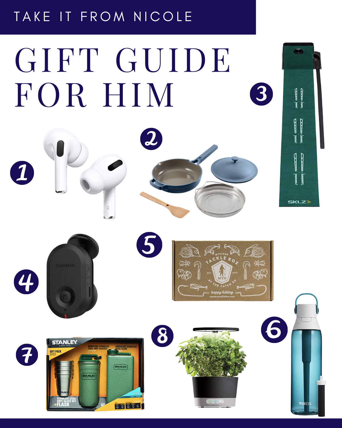 Here is my Gift Guide for Men! Shopping for men is HARD. I have the hardest time shopping for my husband and father. Hopefully I can give you a few ideas to make it a little easier for you. I tried to cover a variety of interests from fishing to golf, from cooking to gardening.