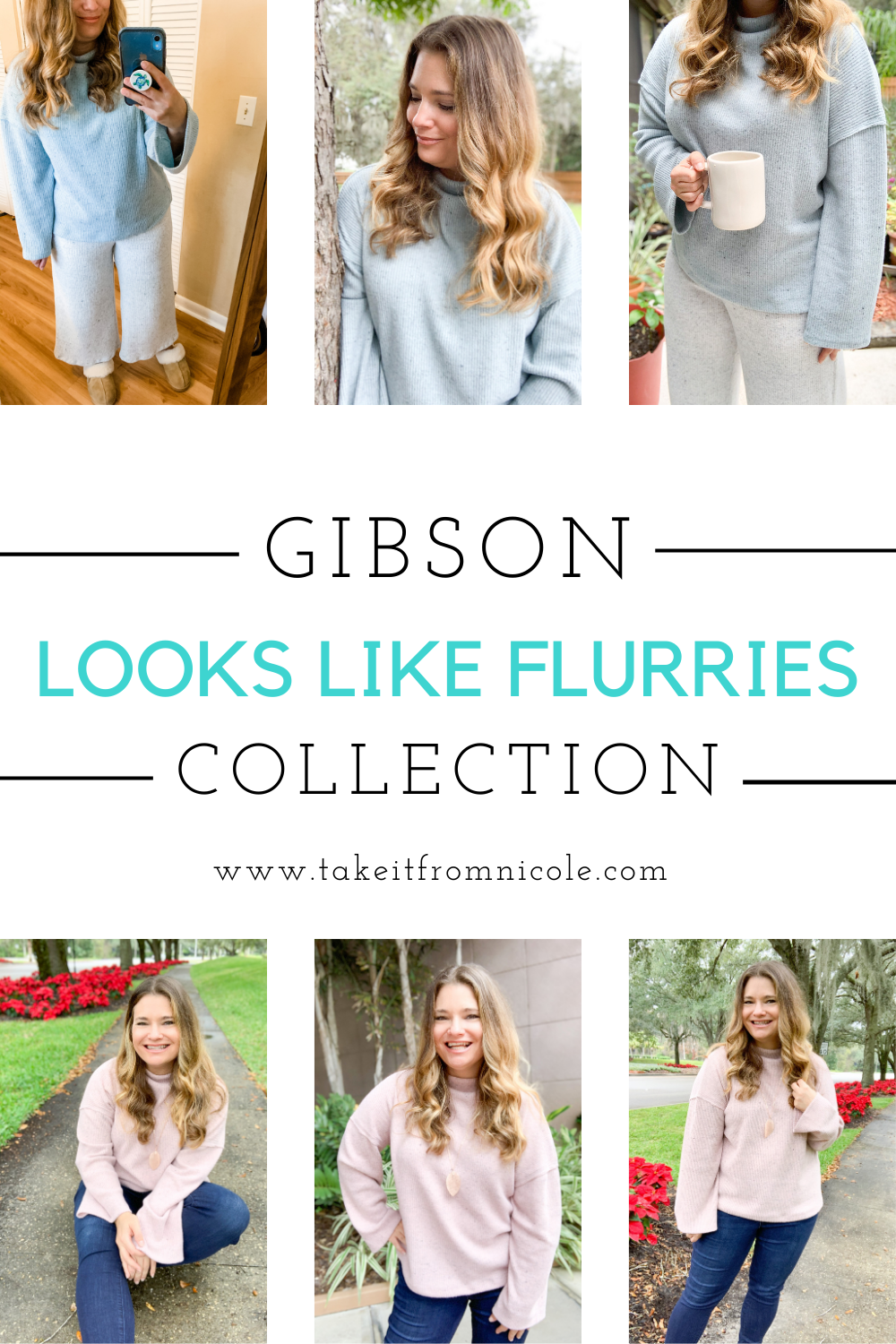 The Gibson Looks Like Flurries collection is the perfect cozy loungewear we need this winter! Soft sweaters, pants, and shorts that pair perfectly with fluffy slippers or mix with your favorite jeans for a cozy out and about look. Midsize, curvy blogger outfits.
