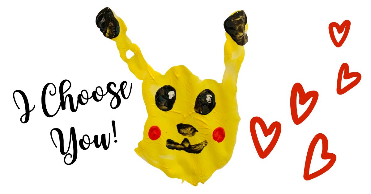 Pokemon Valentine's Day Handprint Craft