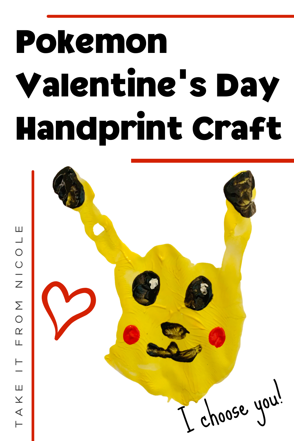 A Pokemon Valentine's Day handprint paint craft that is sure to be a crowd pleaser for both boys and girls. This cute little Pikachu is an easy and kid friendly activity for children.