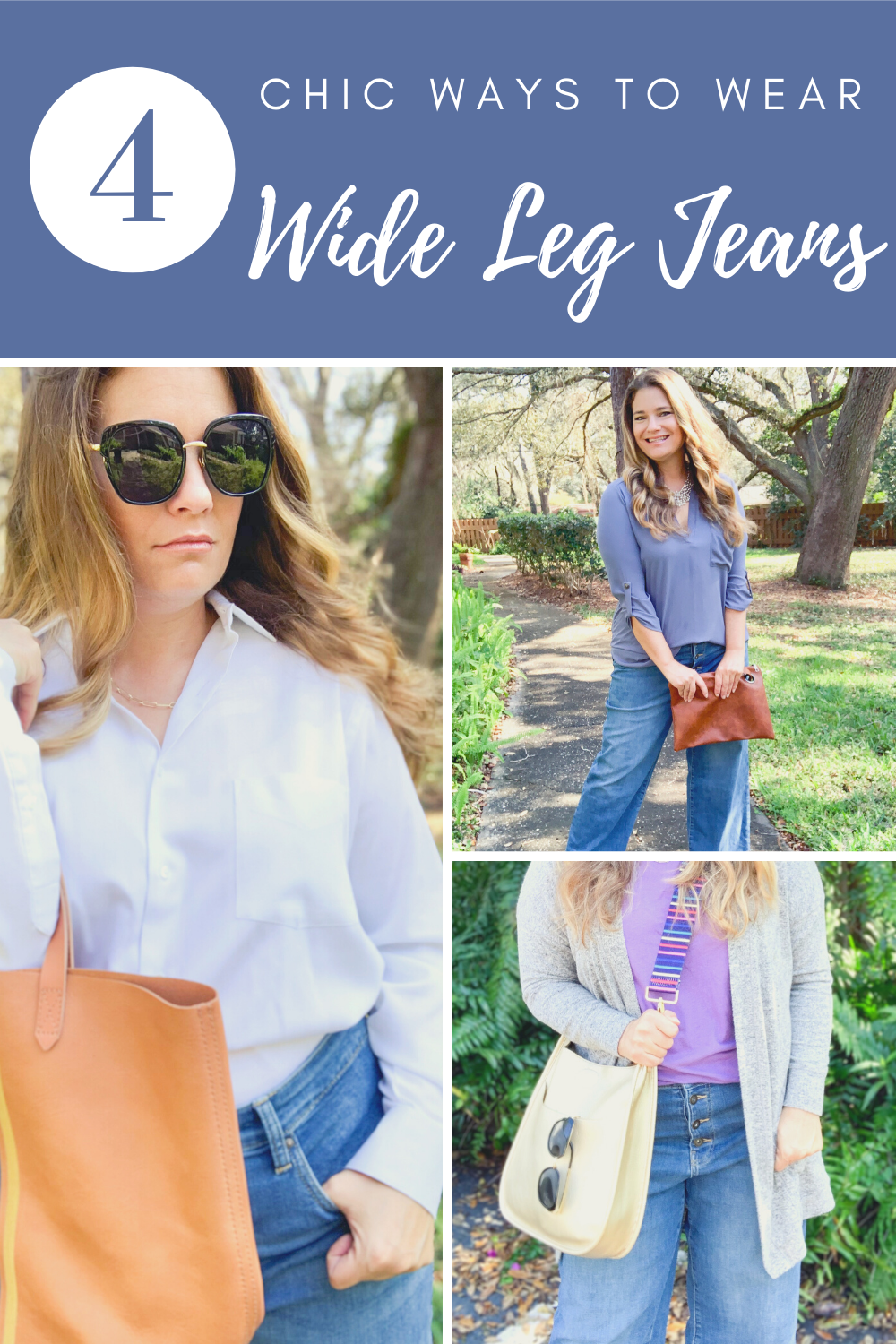 Four chic and effortless ways to wear wide leg jeans. See how to style wide leg jeans into outfits that are on trend and mom wardrobe approved. Midsize fashion for women.