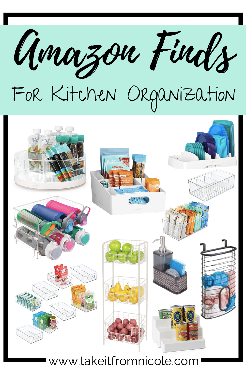 10 Amazon finds to help organize your kitchen and kick chaos to the curb. Organize your pantry, cabinets, counters and refrigerator quickly and easily.