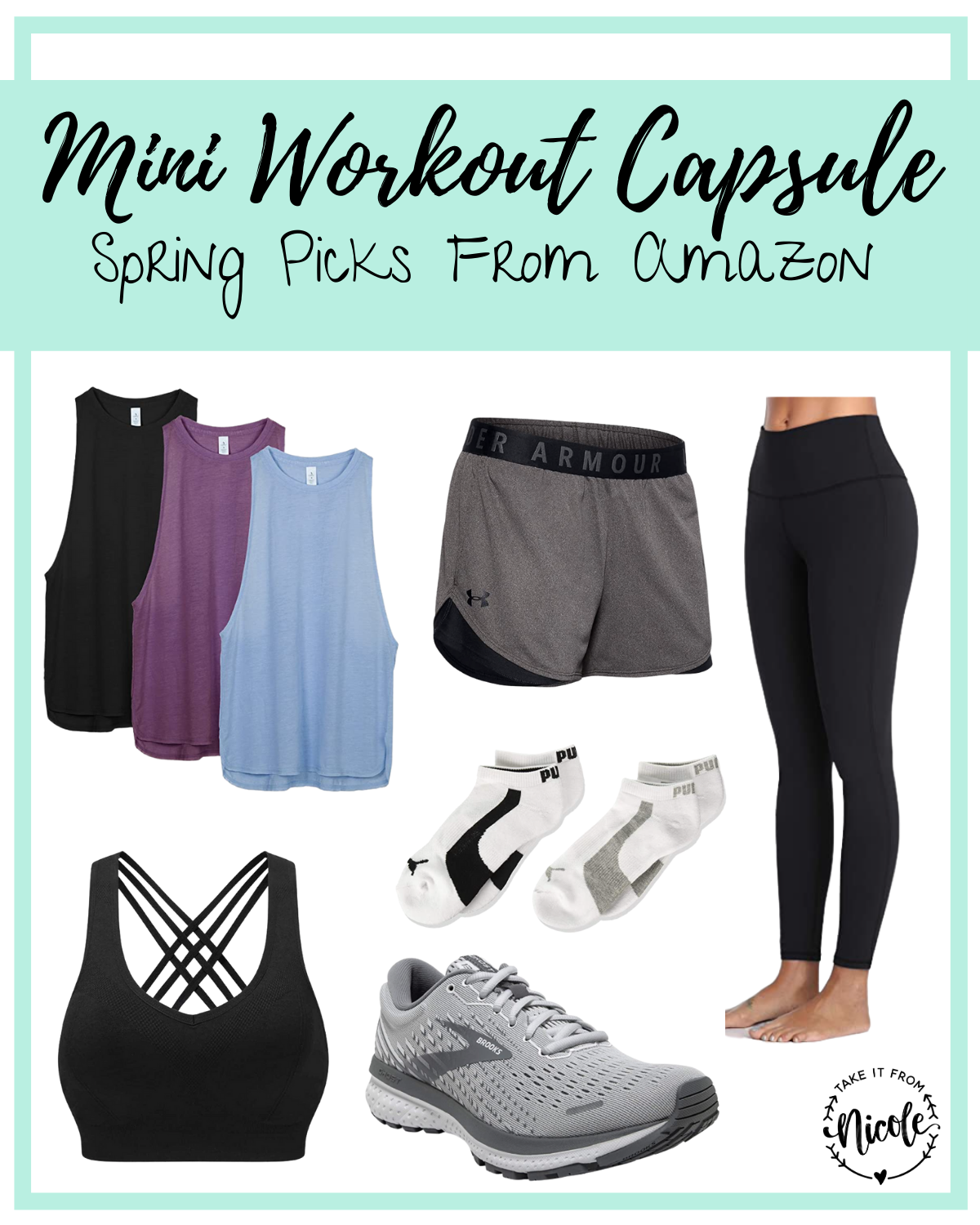 I put together this Mini Workout Wear Capsule Wardrobe to give your exercise gear a nice refresh for Spring. I also feel that new workout clothes are the perfect motivation to get me moving and crushing fitness goals at the gym. Each of these fashionable pieces will mix and match with the others and all are available on Amazon.