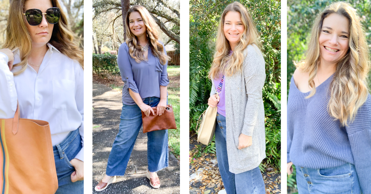 Four chic and effortless ways to wear wide leg jeans. See how to style wide leg jeans into outfits that are on trend and make an impact.