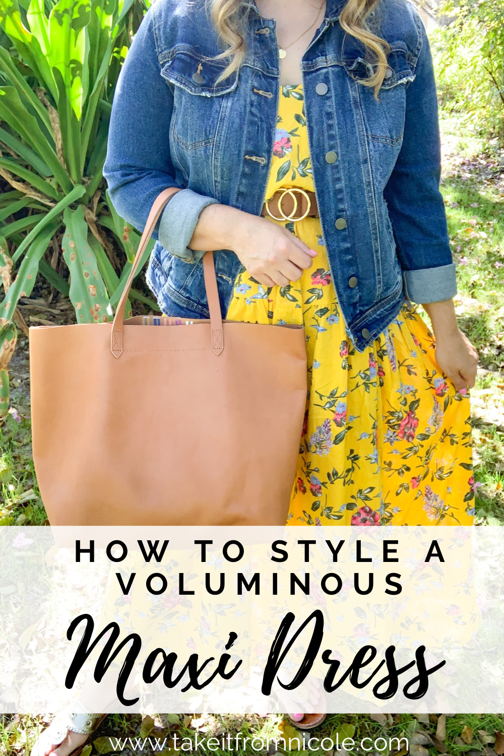 How to style and accessorize a high volume mega maxi dress. Yellow floral maxi dress, Madewell tote bag, Amazon Fashion, Jack Rogers Sandals, denim jacket.