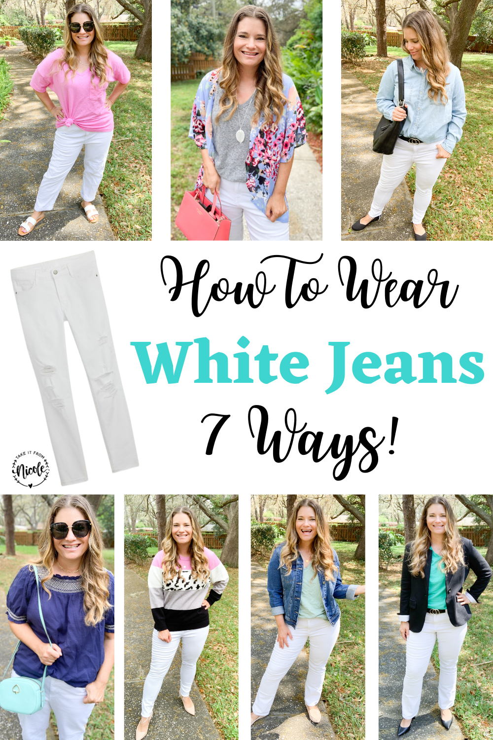 White jeans are a classic and perfect for spring. Here are 7 ways to style white denim for busy moms. Casual midsize outfit inspiration. Petite fashion blogger.