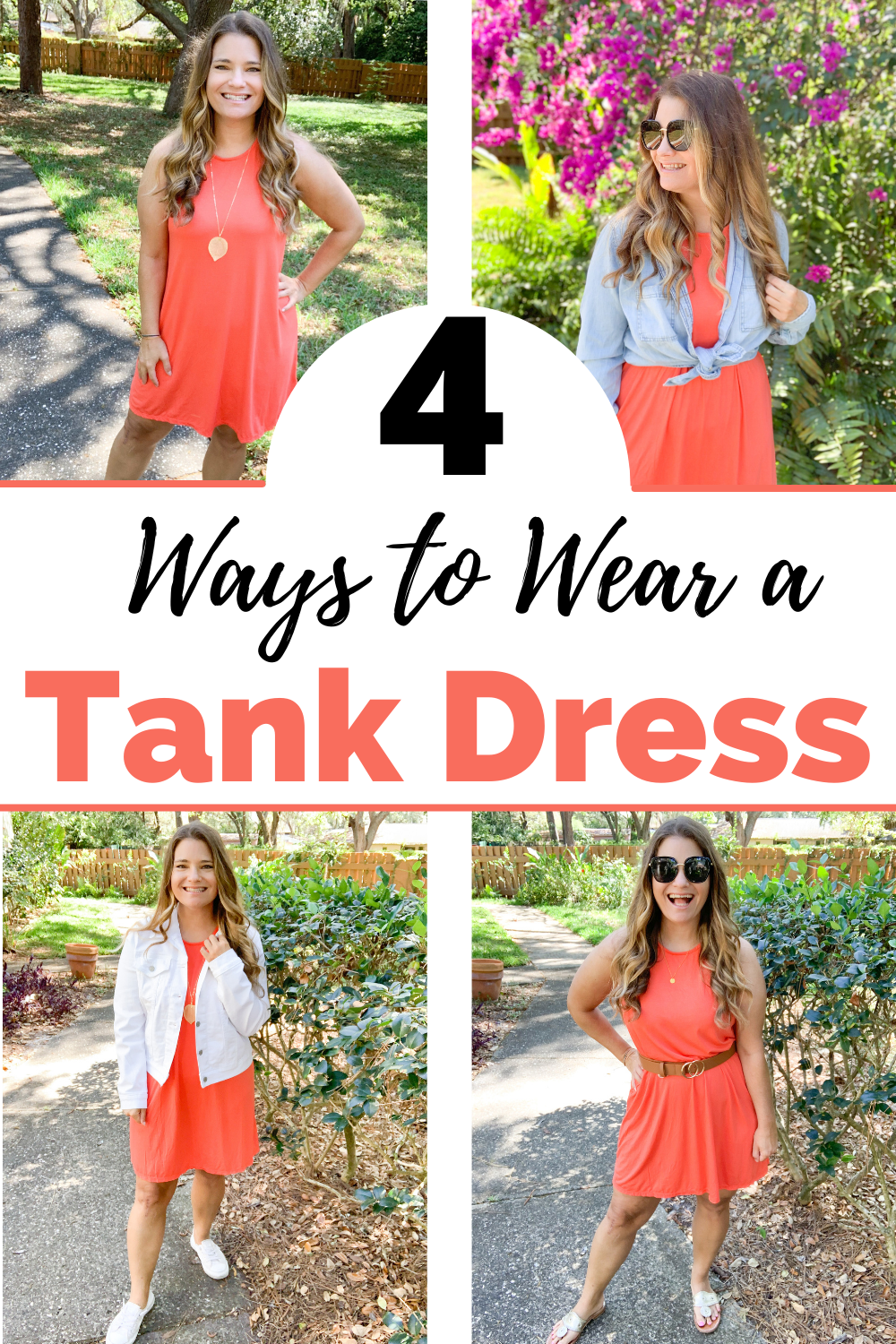 Midsize Fashion blogger shows you how to style a racerback tank swing dress 4 ways. Budget friendly outfits for moms. Affordable fashion.