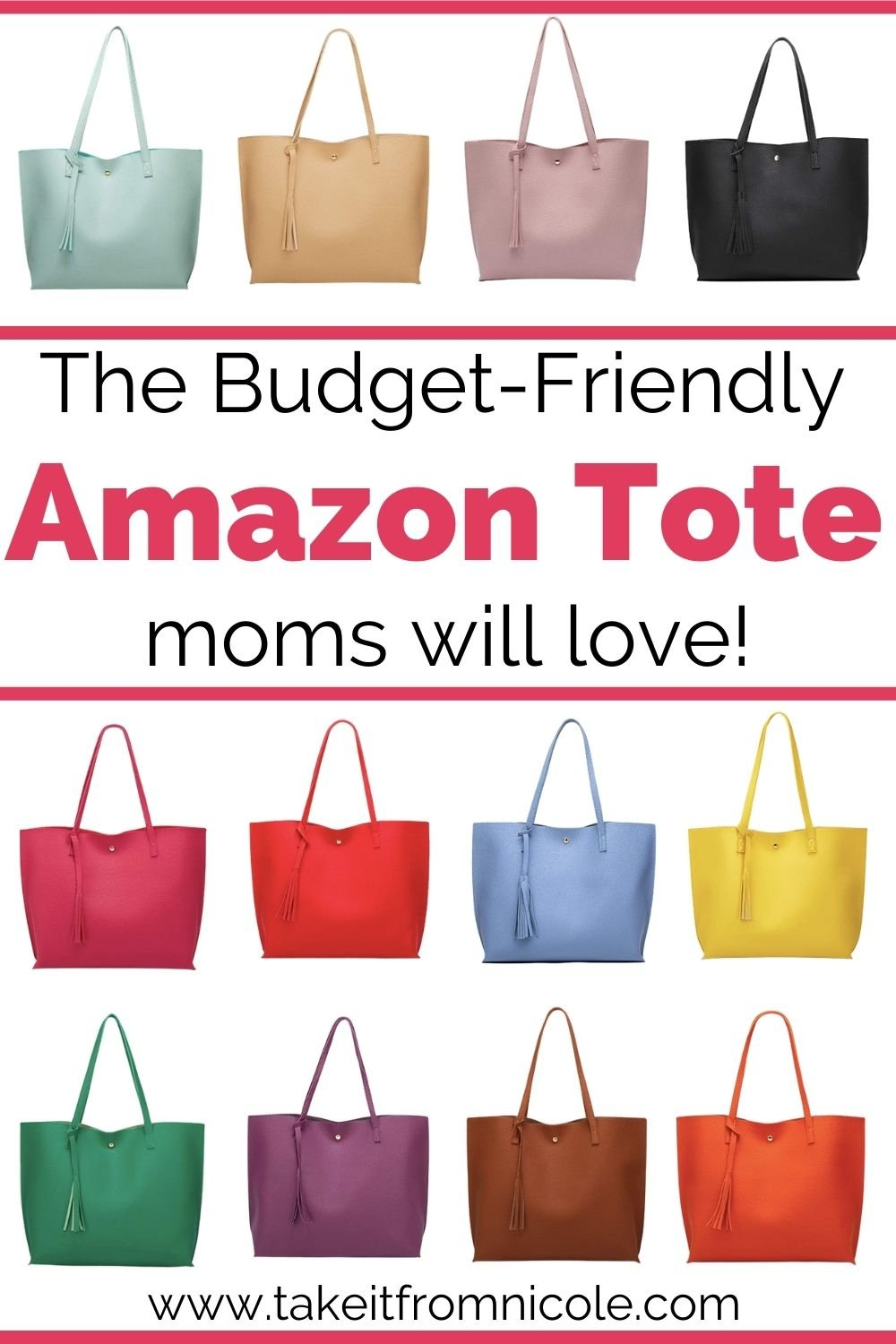 This affordable mom tote bag is a must have! It comes in a wide variety of colors at a budget friendly price point.