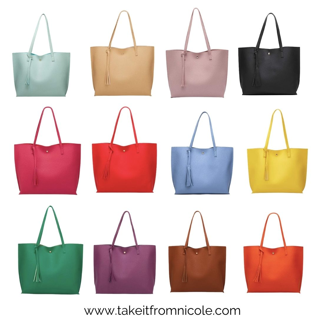 This affordable mom tote bag from Amazon is a must have! It comes in a wide variety of colors at a budget friendly price point.