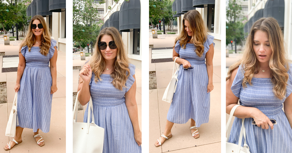 This blue linen blend smocked dress from Amazon is the perfect dress for summer. It gives Cottagecore aesthetic vibes with being too fussy.